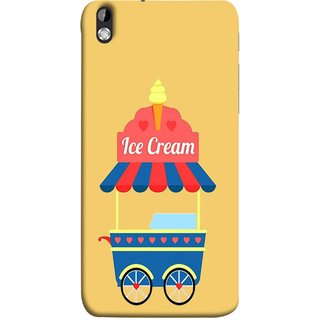 FUSON Designer Back Case Cover For HTC Desire 816 :: HTC Desire 816 Dual Sim :: HTC Desire 816G Dual Sim (Ice Cone Pineapple Flavour Wheels Hearts Shade )
