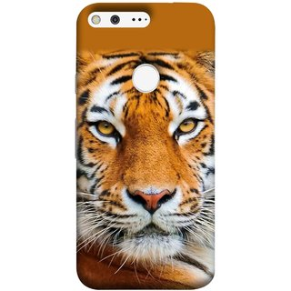 FUSON Designer Back Case Cover For Google Pixel XL (Wild Jungle Tigers Whisker Roaring Sitting Safari India)