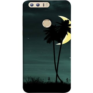 FUSON Designer Back Case Cover For Huawei Honor 8 (Coconut Trees Beautiful Moon Stars Light Evening )