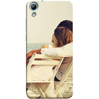 FUSON Designer Back Case Cover For HTC Desire 826 :: HTC Desire 826 Dual Sim (Beautiful Husband Wife Lovers Valentines Sitting Sea Shore)