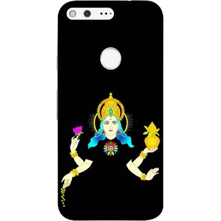 FUSON Designer Back Case Cover For Google Pixel (Laxmi Kamal Lotus Gold Crown Mukut Kalash)