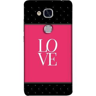 FUSON Designer Back Case Cover For Huawei Honor 5c :: Huawei Honor 7 Lite :: Huawei Honor 5c GT3 (White Dots On Black Background Prem Pyar)