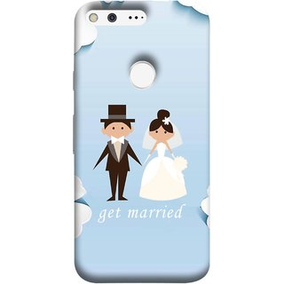 FUSON Designer Back Case Cover For Google Pixel (Photo Wallpaper Marriage White Dressed Bride )