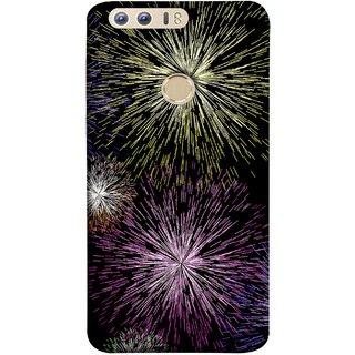 FUSON Designer Back Case Cover For Huawei Honor 8 (Dark Night Fireworks Diwali Dipawali Flowers )