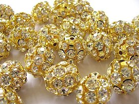 Fancy 6mm gold stone  spacer bead balls for jewellery making , pack of 50
