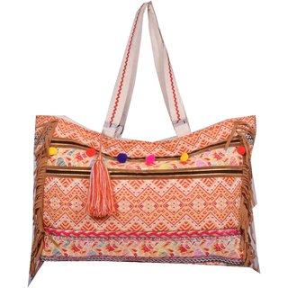 Orange Ethnic Hand Bag