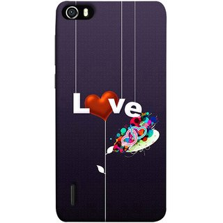 FUSON Designer Back Case Cover For Huawei Honor 6 (Hearts Hanging Ropes Free Love Tree Multicolour)