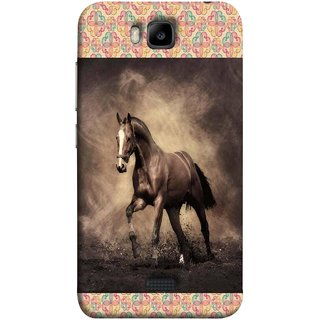 FUSON Designer Back Case Cover For Huawei Honor Bee :: Huawei Honor Bee Y5c (Beautiful Horse Black And White Brown Canvas Wallpaper)