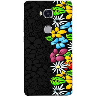 FUSON Designer Back Case Cover For Huawei Honor 5X :: Huawei Honor X5 :: Huawei Honor GR5 (Multicolour Flowers Phul Gray Geen Leaves Beautiful)