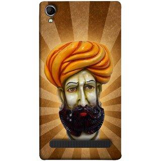 FUSON Designer Back Case Cover For Intex Aqua Power Plus :: Intex Aqua Power + (Vector Illustration Turban Headdress And Mustache Isolated)