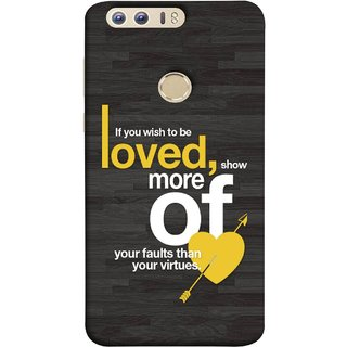 FUSON Designer Back Case Cover For Huawei Honor 8 (Broken Heart Arrow Quotes Show More Your)
