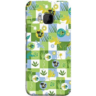 FUSON Designer Back Case Cover For HTC One M9 :: HTC One M9S :: HTC M9 (Pillow Bedsheet Designs Fish Grass Cat Yellow Flower Pattern)