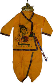 Indo Yellow Cotton Krishna Dress Set With Crown and Flute
