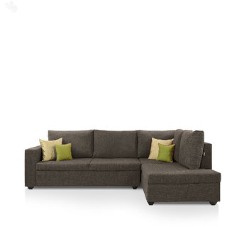 furniture4U - Lounger Sofa Set with Chocolate Brown Upholstery - Classic - L Shape
