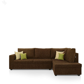furniture4U - Lounger Sofa Set with Brown Upholstery - Premium - L Shape