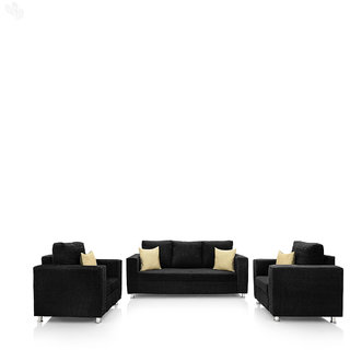 furniture4U - Fully Upholstered Sofa Set - Classic Valencia Black (3+1+1)