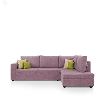 Lounger Sofa Set With Mauve Upholstery