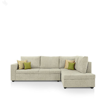 furniture4U - Lounger Sofa Set with Off White Upholstery - Premium - L Shape
