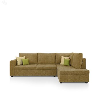 furniture4U - Lounger Sofa Set with Khaki Upholstery - Premium - L Shape