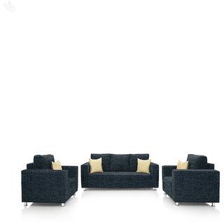 furniture4U - Fully Upholstered Sofa Set - Premium Valencia Dark Blue (3+1+1)