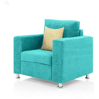 Furniture4U   Fully Upholstered Single Seater Sofa   Classic Valencia Sky  Blue