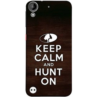 FUSON Designer Back Case Cover For HTC Desire 530 (World Logo Keep Silent And Cool Hunting Always)