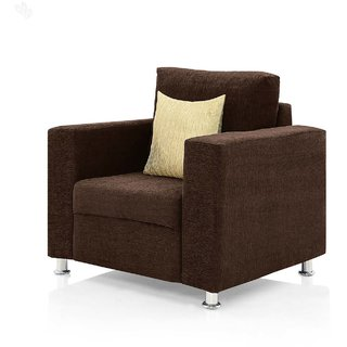 furniture4U - Fully Upholstered Single-Seater Sofa - Classic Valencia Dark Brown