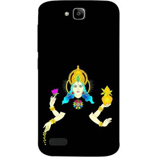 FUSON Designer Back Case Cover For Huawei Honor Holly (Laxmi Kamal Lotus Gold Crown Mukut Kalash)