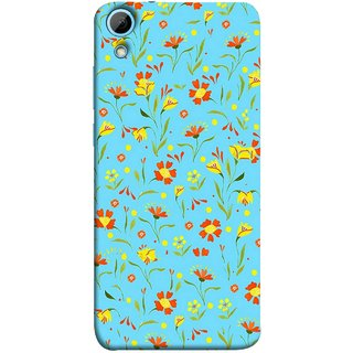 FUSON Designer Back Case Cover For HTC Desire 830 :: HTC Desire 830 Dual Sim (Grey Yellow Red Small Checks Background Fresh Flowers)