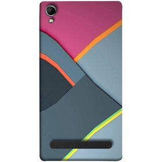 FUSON Designer Back Case Cover For Intex Aqua Power Plus :: Intex Aqua Power + (Bright Beautiful Colour Strips And Band Wave Triangle)