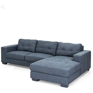 Royal Oak Geo Double Seater And Lounger Sofa With Grey Upholstery