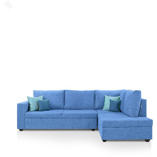 furniture4U - Lounger Sofa Set with Blue Upholstery - Classic - L Shape