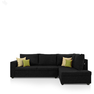 furniture4U - Lounger Sofa Set with Black Upholstery - Classic - L Shape