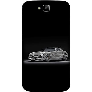 FUSON Designer Back Case Cover For Huawei Honor Holly 2 Plus :: Huawei Honor 2 Plus (Road Black White Clouds Beautiful Road Blue Side Mirror)