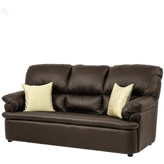 furniture4U - Three-Seater Sofa with Brown Upholstery - Classic