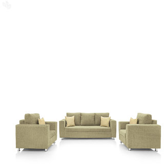 furniture4U - Fully Upholstered Sofa Set - Premium Valencia Cream (3+1+1)