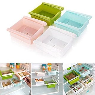 Multi Purpose Plastic Kitchen Office Table Space Organizer Refrigerator Storage Rack (Pack of 4)