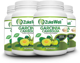 Zukewell Garcinia Cambogia Extract 500 mg (60 HCA)Fat Burner Capsule-30 Pure Veg Capsules Pack of 4