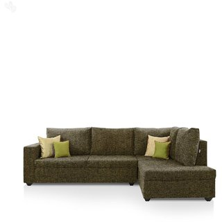 furniture4U - Lounger Sofa Set with Moss Green Upholstery - Premium - L Shape