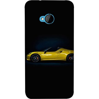 FUSON Designer Back Case Cover For HTC M7 :: HTC One M7 (Yellow 918 Spyder Top View Expensive Cars)