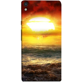 FUSON Designer Back Case Cover For Huawei Ascend P6 (Sunshine Bright Day Sunny Clouds Fuzzy Waves Long )