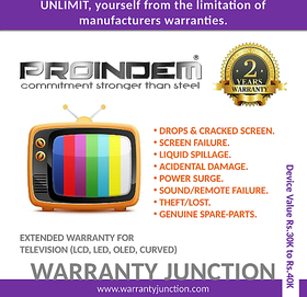 PROINDEM LED/OLED/CURVED TV 2 years Protection Plan (Device value 30000Rs. to 39900Rs.)