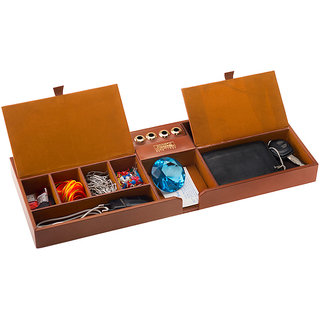 Kebica 6 Compartments Leather Pen stand With Mobile Stand Desk organizer  (Maroon)