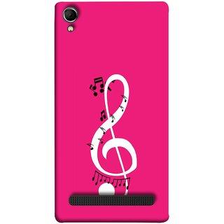 FUSON Designer Back Case Cover For Intex Aqua Power Plus :: Intex Aqua Power + (Colorful Music Notes Symbols Small Black Notes)
