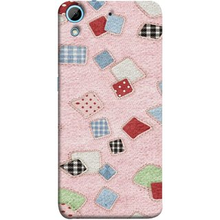 FUSON Designer Back Case Cover For HTC Desire 728 Dual Sim :: HTC Desire 728G Dual Sim (Baby Pink Lot Colours Squares Patch Tiles )