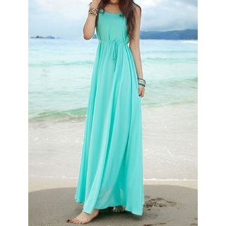 Rosella Turquoise Plain Maxi Dress with drosting For Women: Buy ...