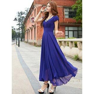 Raabta Fashion Royal Blue Long Monika Dress with Cape Sleeve