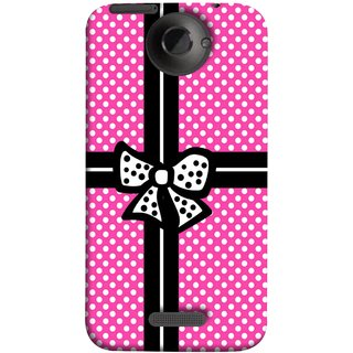 FUSON Designer Back Case Cover For HTC One X :: HTC One X+ :: HTC One X Plus :: HTC One XT (Red And Black With Ribbon Gift Presents Wrapping)