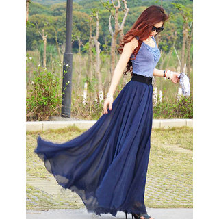 Raabta Fashion Nevy Blue Plain Flared Skirt For Women