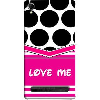 FUSON Designer Back Case Cover For Intex Aqua Power Plus :: Intex Aqua Power + (Pink Design Paper Big Black Circles Bubbles )